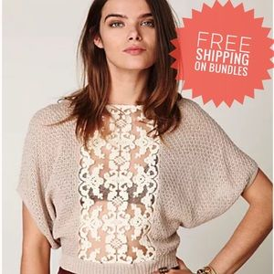 Free People Goldie's Lurex Swit Lace Sqeater Top
